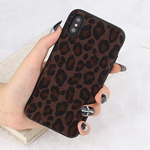 For iPhone 6 Plus iPhone 6S Plus Protection Case, L-FADNUT Super Cute Leopard Print Gel Skin TPU Case, Ultra Slim Flexible Soft Rubber Shell Shockproof Rubber Shell Funcky Back Bumper Case Cover Black (Black Leopard Cover)