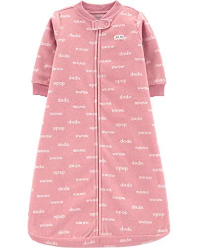 Carter's Unisex Baby Fleece Sleepbag Sleepsuit, Pink Mama Dada, Small / 0-3 Months (Big Dada)