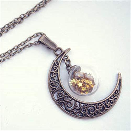 (Moon Globe Necklace Glass Bottle Pendant Moon Necklace Moon Bronze Necklace)