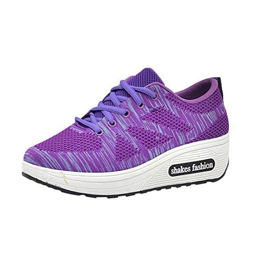 Vuelo Sneakers Deportivo Malla Tejida y 35 con de Morado densa de Zapatillas 40 Deporte Logobeing Suela Calzado Gruesa xwOI610qg