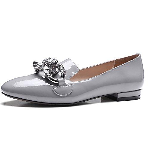 Nine Seven Cuero Moda Puntera Redonda Bailarinas Planos Cómodos de Vestir para Mujer gris