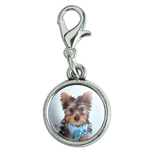 Graphics and More Yorkie Yorkshire Terrier Puppy Dog Blue Bow Tie Antiqued Bracelet Pendant Zipper Pull Charm with Lobster Clasp -