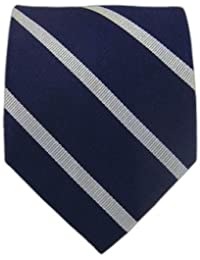 The Tie Bar 100% Woven Silk Navy and Silver Trad Striped Tie