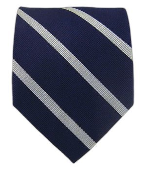 7dd999606659 The Tie Bar 100% Woven Silk Navy and Silver Trad Striped Tie at ...