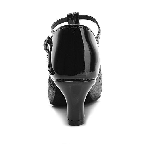 de Tacón 5cm baile Negro Zapatos Lentejuelas 259 baile de de modelo latino SWDZM Ballroom ES Mujer estándar Zapatos BqaXnZwx