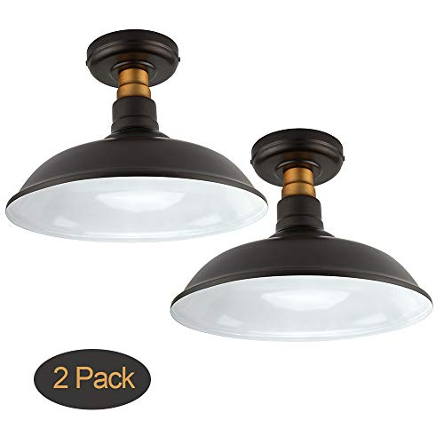 Set of 2 Vintage Semi Flush Mount Ceiling Light, Oil Rubbed Bronze/Antique Brass Finish,Industrial Ceiling Lamp Fixture Suitable for Bedroom Living Room Hallway,E26 Medium - Ceiling Semi Fixture Flush Bronze