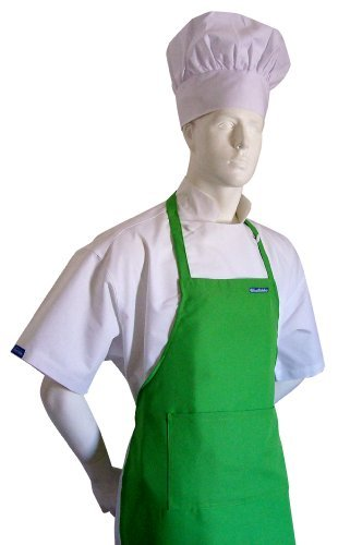 chefskin-adult-apron-lime-green-ultra-lightweight-cool-fresh-very-comfortable-center-pocket-and-long
