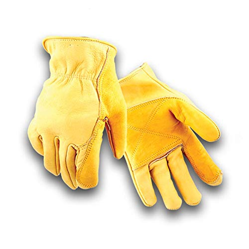 Golden Stag Winter Fleece Lined Double Palm Cowhide Glove, Driver Glove, Heavy Duty, Rolled Cuff, Working Glove,WINTER LINED XX-Large, - Cowhide Lined Gloves Fleece Driver
