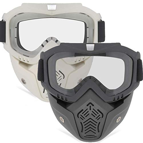 EXSPORT 2 Pack Detachable Face Masks, Tactical Mask with Protective Goggles Compatible with Nerf Rival , Apollo, Zeus, Khaos, Atlas, & Artemis Blasters Rival Mask Black & White ()