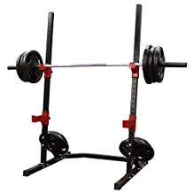 AmStaff Fitness TR057D Power Squat Rack, Black and Red