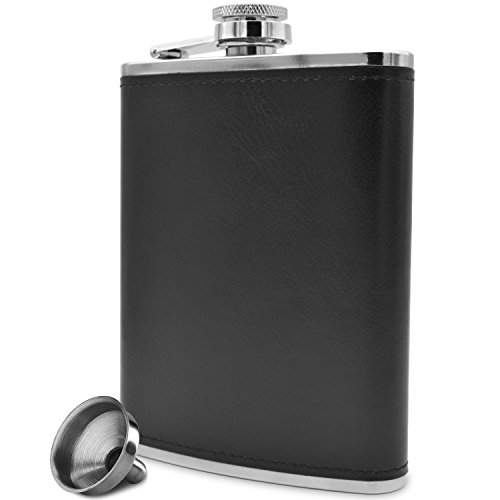 Premium 8 Oz Black Soft Touch Leather Wrap Outdoor Adventure - Leak Proof - Flask 304 Stainless Steel Liquor Hip Flask by Future Hydrate - Includes Free Bonus Funnel (Black Faux Leather Wrap, 8oz) (Gift Drinks Engraved)