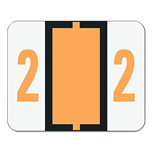 Color Coded Single - Smead 67372 Single Digit End Tab Labels, Number 2, Light Orange, 500 per Roll