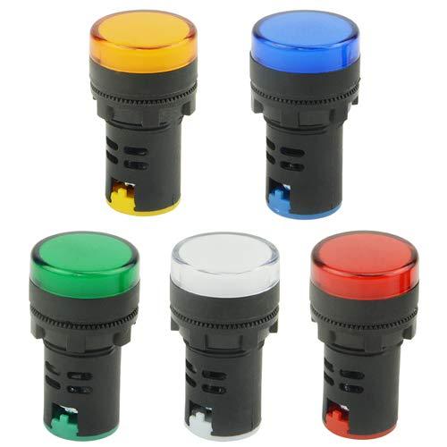 "TOVOT Indicator Lights AC/DC 12V, Energy Saving LED Signal Lights, Flush Panel Mount 7/8"" 22mm,AD16-22DS-5PCS (5 Colors)"