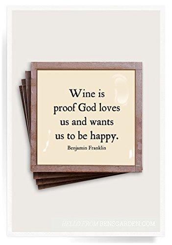 Ben's Garden Wine Is Proof Copper & Glass Coasters, Set of ()