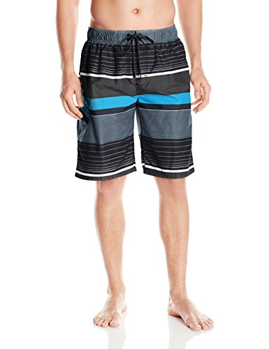 Kanu Surf Men's Viper Stripe Swim Trunk, Black, Medium