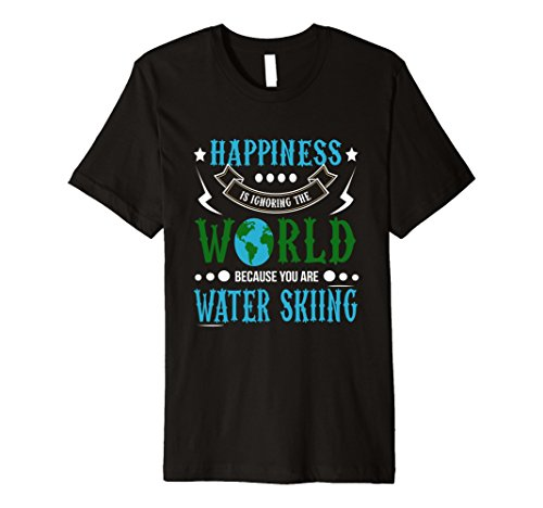 Mens Happiness is Ignoring World You are Water Skiing T-Shirt XL Black Barefoot Water Skiing