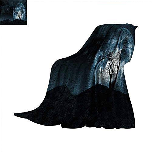 smallbeefly Fantasy Digital Printing Blanket Night Moon Sky with Tree Silhouette Gothic Halloween Colors Scary Artsy Background Summer Quilt Comforter 80