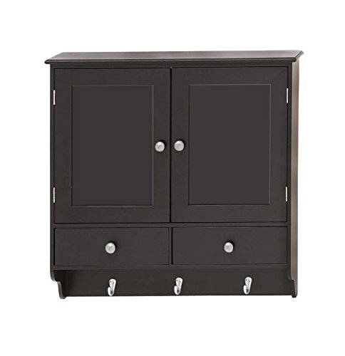 "Deco 79 Attractive Wood Wall Cabinet with Hooks, 24"" W x 24"" H"