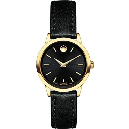 Women's 1881 27mm Black Leather Band Gold Plated Case Sapphire Crystal Automatic Watch - Movado 0606925