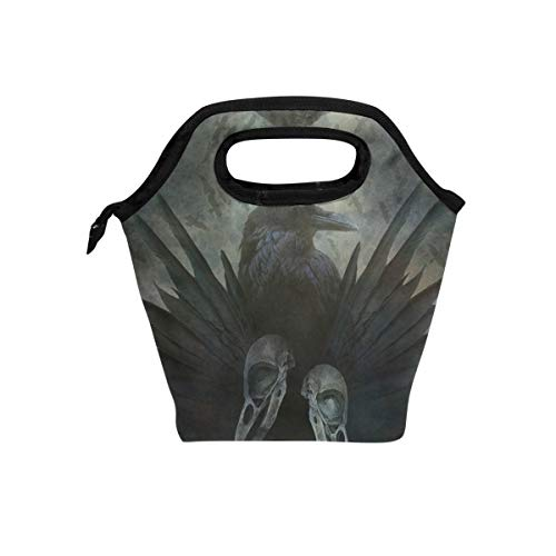 (Picnic Lunch Bag Crow Spirit Design With Head Skulls Black Wings Lunch Tote Insulated Cooler Adult Water-Resistant, Meal Prep Travel Bag Reusable Zipper Lunch Bag 11 Inches, Handbag for Lunch)