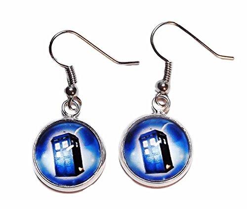 [Doctor Who TARDIS Police Box Glass Domed Stud EARRINGS] (Matt Smith Costume)