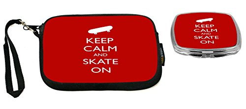 Rikki Knight Keep Calm and Skate On -Skateboard- Red Color Design Neoprene Clutch Wristlet with Matching Square Compact Mirror 710 Clutch