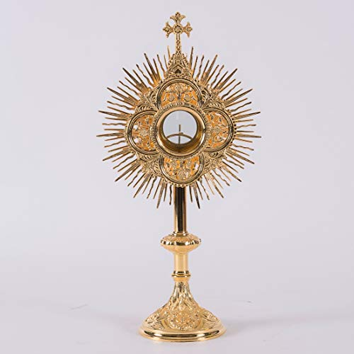 Beautiful Smaller 24K Goldplated Monstrance with Glass Enclosed 2