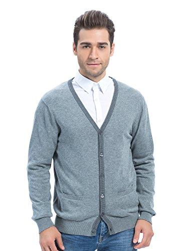 Choies Men's Gray V-neck Pocket Lightweight Cotton Cardigan L