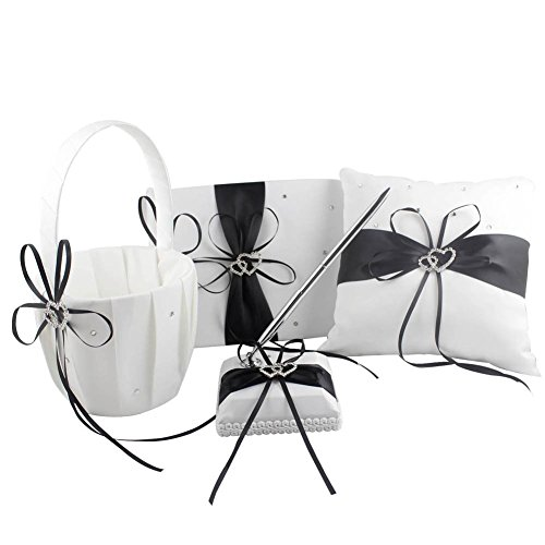 Black Four Wedding Accesorries Sets High Quality Wedding Guest Book +Pen Set +Flower Girl Basket + Ring Pillow, Double Hearts Rhinestone Elegant Wedding Ceremony Party Favor Sets by Half Flower Bridal