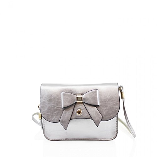 for Cross bag Designed Girls Mini Small New London Silver bag Womens body Craze Womens Messenger Bow wOf18Sq