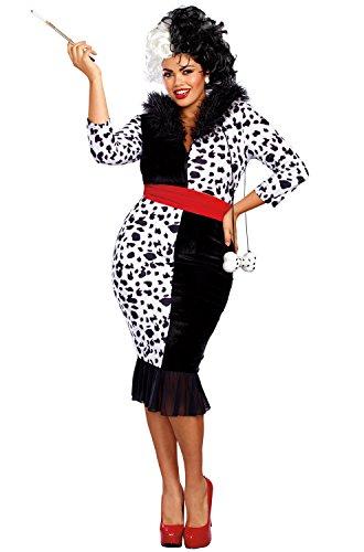 Dreamgirl Women's Dalmatian Diva Plus Size, Black/White, 1X