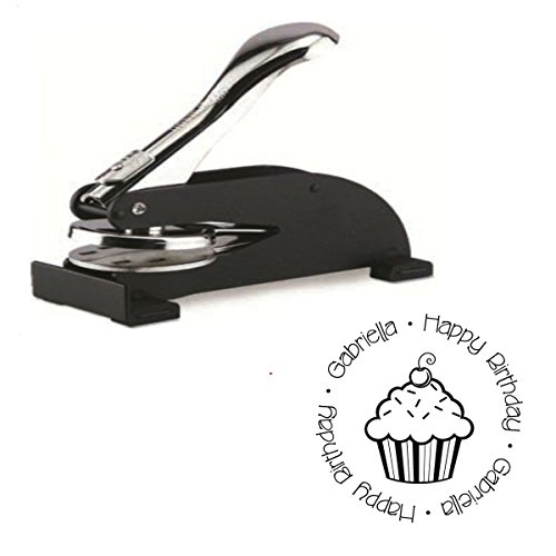 Infusion Custom Happy Birthday Logo Desk Embosser Seal - 1.675'' Round Personalized Paper Embosser by Shiny (Image #5)