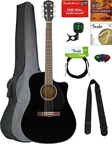 Fender CD-60SCE Dreadnought Acoustic-Electric Guitar - Black Bundle with Gig Bag, Tuner, Strap, Strings, Picks, Austin Bazaar Instructional DVD, and Polishing ()