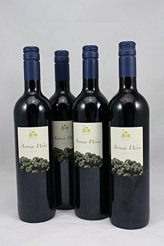 BIO Aronia Wein trocken - Edition WEINDIELE® + Geschenktasche mit Dropstop, 4 x 0,75 L BIO Fruchtwein