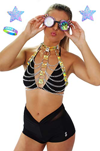 Women Festival Body Harness EDM Rave Clothes. Choker Chain Holographic Pasties (Gold Harness Bundle, Gold Harness + Pasties) - Sexy Bra Vinyl
