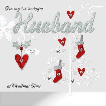 Husband Christmas Cards Uk.For My Wonderful Husband At Christmas Time Handmade Keepsake Boxed Christmas Card Bxx141