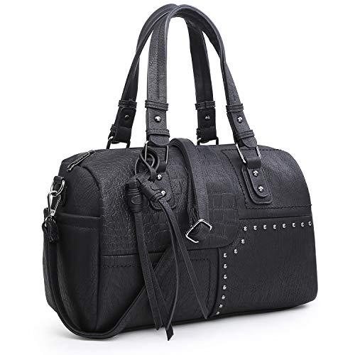 Dasein Women Soft Vegan Leather Barrel Bags Large Top Handle Totes Satchel Handbags Shoulder Purse (9554-black) (X7 Arrows)