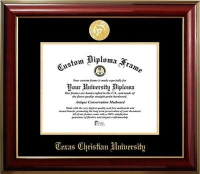 Texas Christian University Gold Medallion Diploma Frame by Premier Frames
