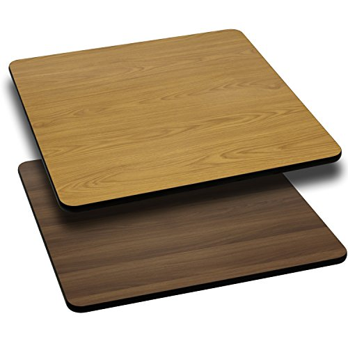 Flash Natural (Flash Furniture 36'' Square Table Top with Natural or Walnut Reversible Laminate Top)