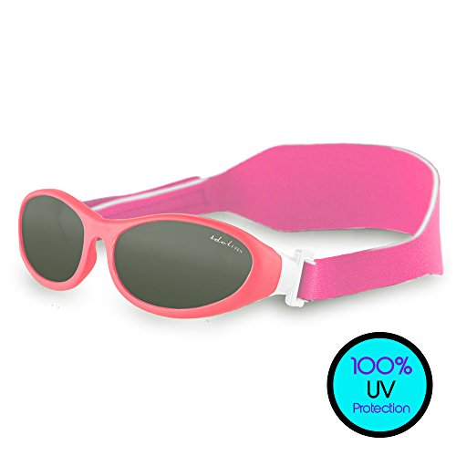 Toddler Sunglasses (UVA UVB Protection) - BabyWrapz Kids Sunglasses Age 2 & Younger w/ Soft, Adjustable Strap for No-Fuss Comfort & Headbands - Idol Eyes - Sunglasses Baby Unbreakable