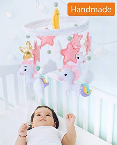 Baby Mobile Felt Nursery Crib Mobile Handmade Baby Shower Gift for Girl (Unicorn) from ARTISTRO