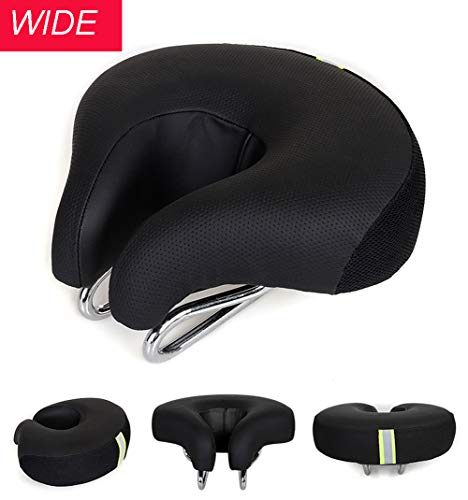 Wide Bike Seat Noseless Comfortable Outdoor Bicycle Saddle for Women & Men High Resilience MTB Sports Cycling Pad Cushion Black
