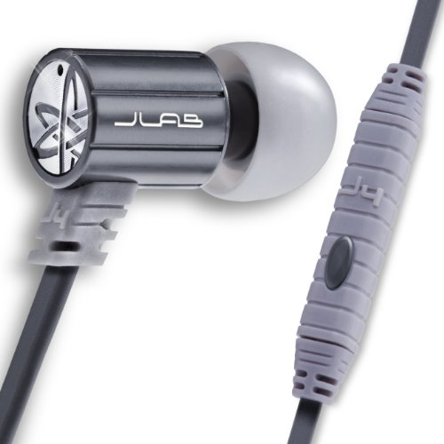 JLab Audio J4M Heavy Bass Rugged Metal in-Ear Headphones w/Mic & Case, Guaranteed for Life - Silver