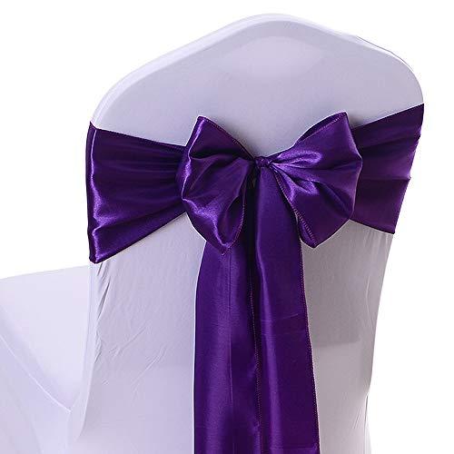 Gold-Furtune 50PCS 17X275CM Satin Chair Bow Sash Wedding Reception Banquet Decoration #06 Dark Purple -
