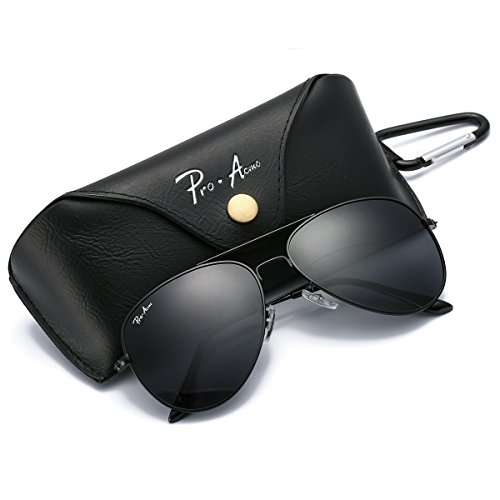 Metal Logo Aviator Sunglasses - Pro Acme PA3026 Large Metal Polarized Aviator Sunglasses with Eyeglasses Case (Black Lens)