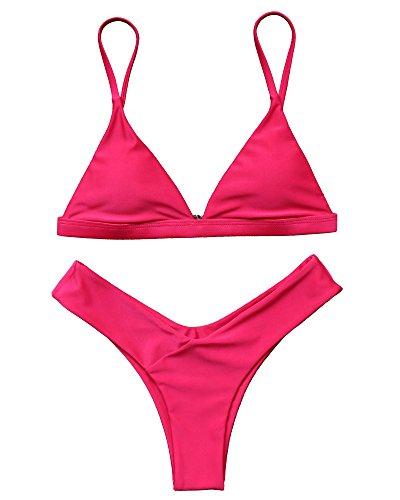 (MOSHENGQI Women 2 Piece Brazilian Top V Style Bottom Bikini Set Spaghetti Strap Swimsuit(M(US Size 4-6),Rose Red) )