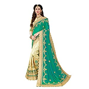 MANOHARI Women's Silk Saree with Blouse Piece (MN345, Green)