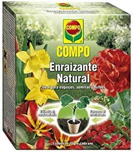 Compo Enraizante Natural, para esquejes, Semillas y bulbos, Apto para Agricultura ecológica, 5 Sobres de 10 g, 13x11x4.5 cm