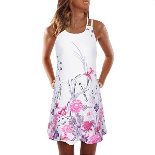 jiumoji Women Summer Plain Boho Vintage Sleeveless Print Beach Sundress Tank Casual Mini Dress