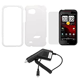 GTMax White Snap on Rubberized Hard Cover Case + Car Charger + Clear LCD Screen Protector for Verizon HTC Rezound/ Vigor 6425